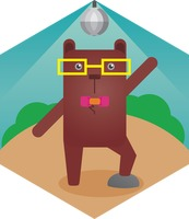 A bear wearing spectacle