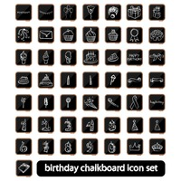 A collection of birthday chalkboard icon