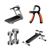 A collection of gym equipment