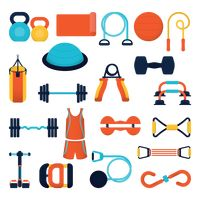 A collection of gym items