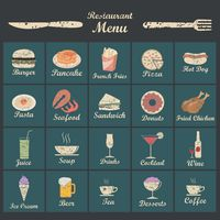 A collection of menu titles