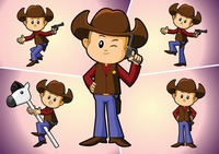 A cowboy in various pose