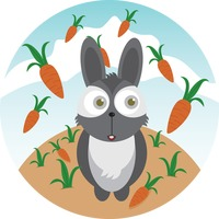 A rabbit and carrots