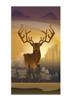 Abstract stag on forest background