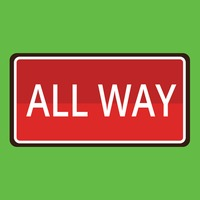 All way road sign