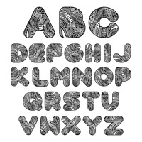 Alphabet set in decorative style