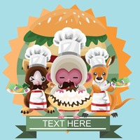 Animals dressed in a chef costume