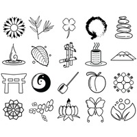 Assorted zen icon set