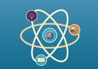 Atom structure with education concept