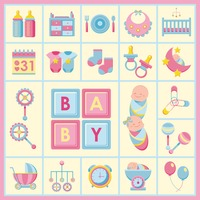 Baby products icons