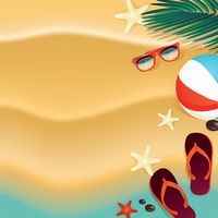 Beach design with flip flops and beachball