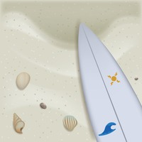 Beach sand with surfboard