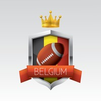 Belgium flag with rugby ball