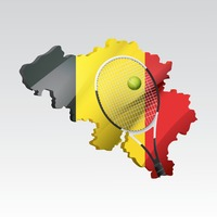 Belgium map with racket and ball