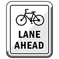 Bike lane ahead road sign