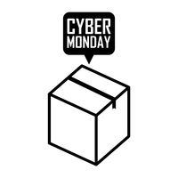 Box with cyber monday speech bubble