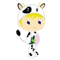 Boy in cow costume on white background