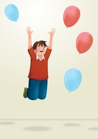 Boy jumping with balloons
