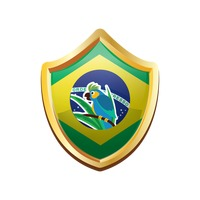 Brazil badge with blue macaw