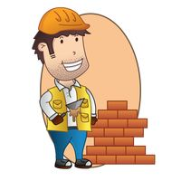 Builder and brick wall
