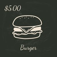 Burger menu title with price