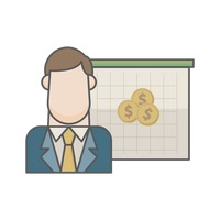 Businessman and dollar coins