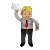Businessman showing paper
