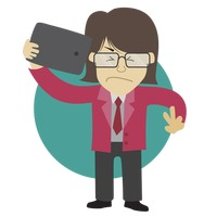 Businessman taking a selfie with an irritated expression