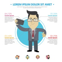 Businessman taking selfie infographic