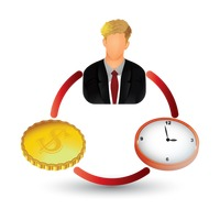 Businessman with clock and coin