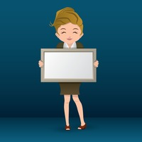 Businesswoman holding frame
