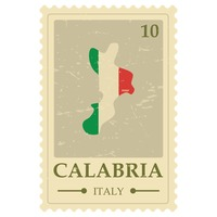 Calabria map postage stamp