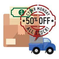 Cardboard box and delivery truck with cyber monday sale stamp