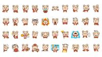 Cartoon bear expressions set