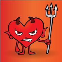Cartoon devil holding a pitch fork