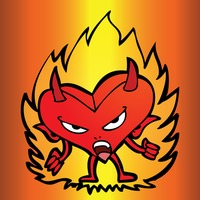 Cartoon devil with a heart shaped body on fiery background