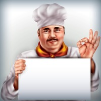Chef holding placard
