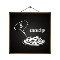 Choco chips with dollar sign in speech bubble