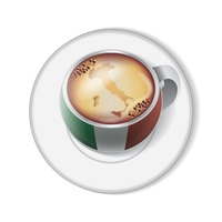 Coffee with italy flag decoration