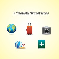 Collection of 5 realistic travel icons