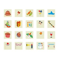 Collection of birthday party related icons