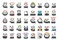 Collection of cartoon panda facial expressions