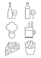 Collection of french food icons