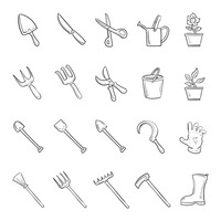 Collection of gardening icons