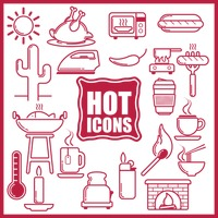 Collection of hot food and equipment icons