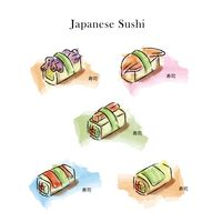 Collection of japanese sushi