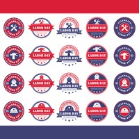 Collection of labor day labels