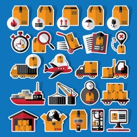 Collection of logistics stickers and labels