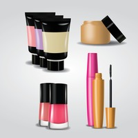 Collection of makeup products