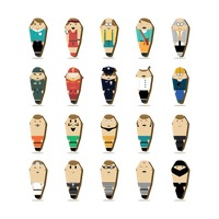 Collection of paper doll men
